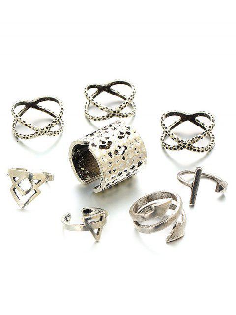 women's Vintage Geometric Ring Set -   Mobile