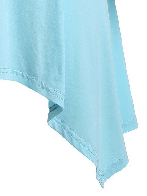 Flèche motif irrégulier Hem Tee - Bleu clair XL Mobile