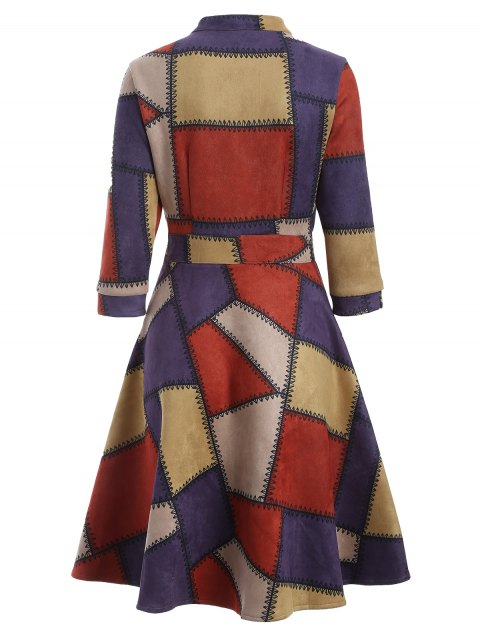outfit Geometric Pattern Fit and Flare Dress - RED XL Mobile