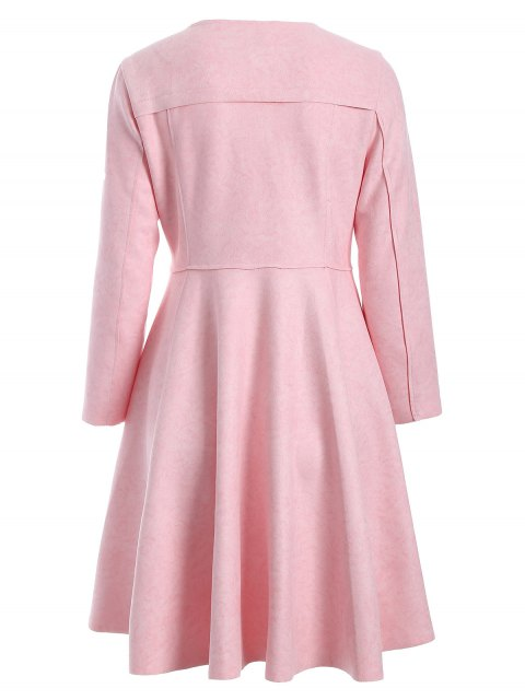 women Patched Fit and Flare Dress - PINK M Mobile