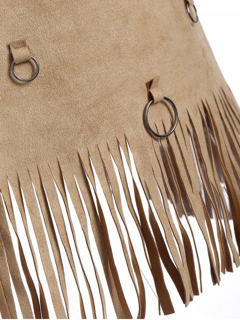 sale Tassels A-Line Dress - CAMEL M Mobile