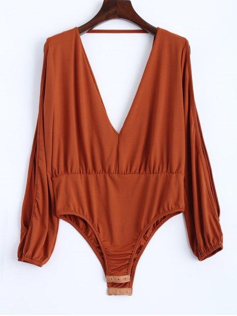 trendy Split Cold Shoulder Bodysuit - ORANGEPINK L Mobile
