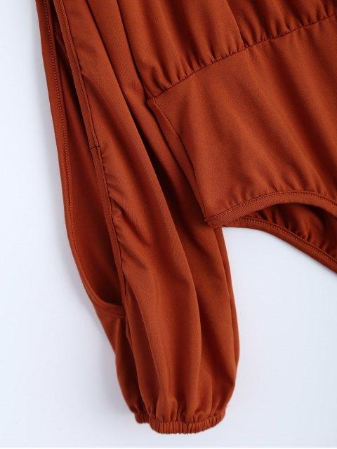 Combinaison à épaules dénudées à manches fentues - Orange Rose XL Mobile