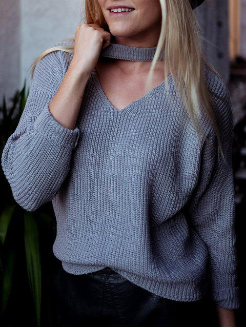 outfits V Neck Ribbed Choker Sweater - GRAY ONE SIZE Mobile