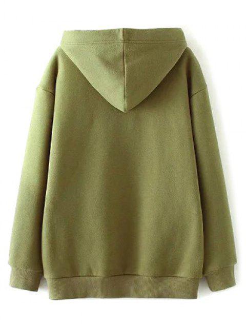 ladies String Zippered Hoodie - ARMY GREEN M Mobile
