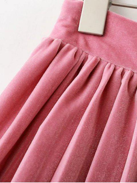 fashion Velour Pleated Skirt - LIGHT PINK M Mobile