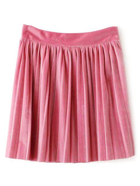 Velour Pleated Rock - Pink L Mobile