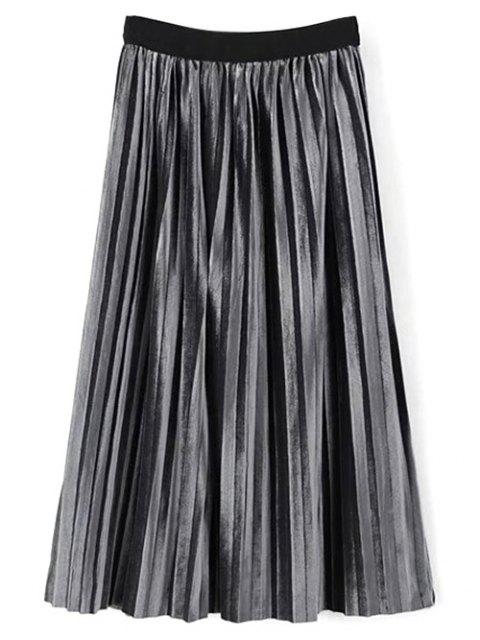 unique High Waist Midi Pleated Skirt - FROST ONE SIZE Mobile