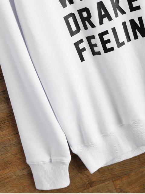 buy Graphic Crew Neck Streetwear Sweatshirt - WHITE M Mobile
