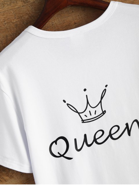sale Jewel Neck Queen Crown T-Shirt - WHITE S Mobile