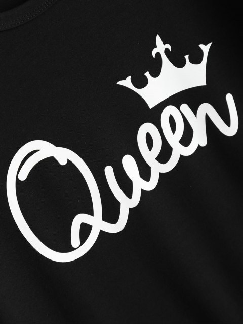 affordable Streetwear Jewel Neck Queen Crown T-Shirt - BLACK M Mobile