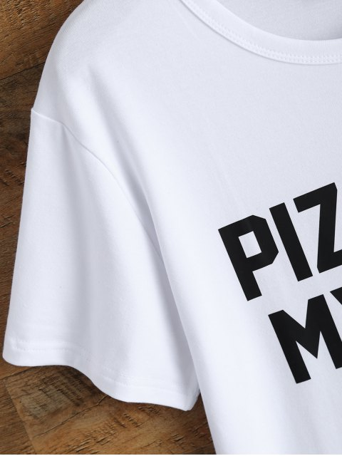 Jewel Neck Pizza Is My Bae T-shirt - Blanc L Mobile
