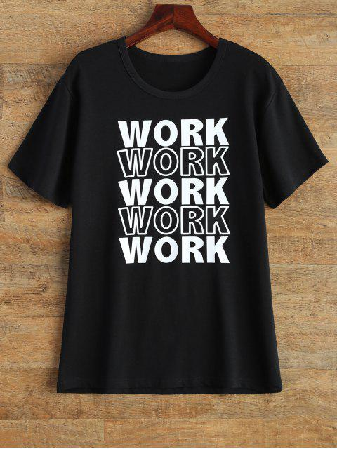 online Jewel Neck Work Graphic T-Shirt - BLACK M Mobile