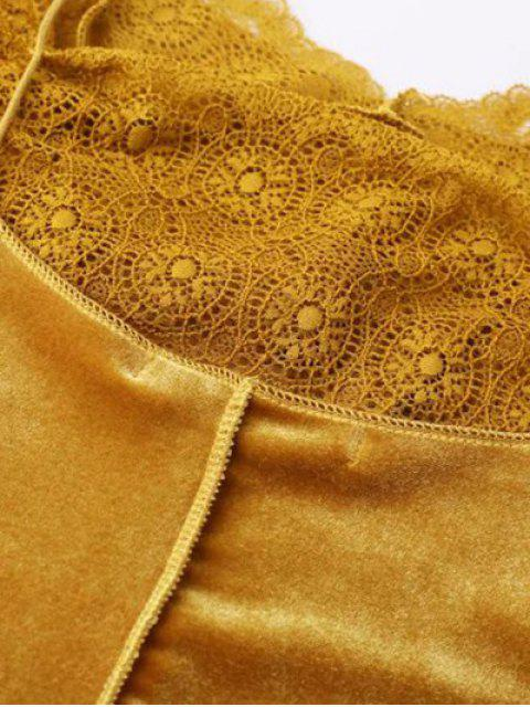 shop Velour Lace Panel Mini Dress - GRAY M Mobile