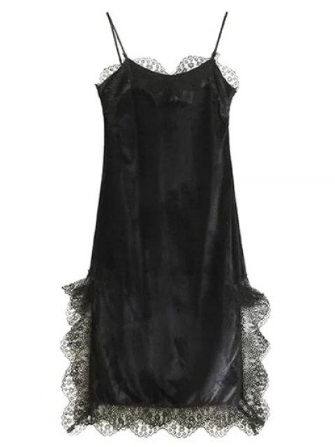 sale Lace Panel Scalloped A-Line Dress - BLACK L Mobile