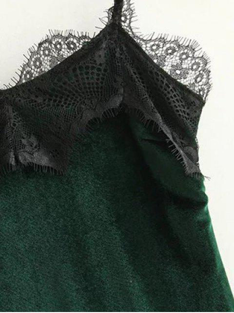 womens Lace Panel Scalloped A-Line Dress - GREEN L Mobile