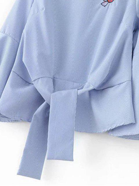 fashion Embroidered Flare Sleeve Blouse - BLUE L Mobile