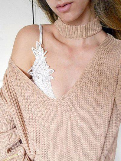V Neck Ribbed Choker Sweater - Khaki