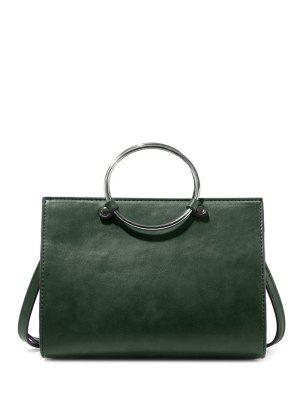 Metal Ring PU Leather Handbag