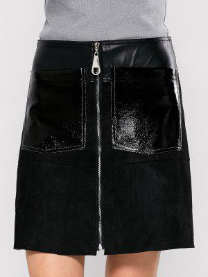 PU Leather Panel A Line Skirt - Black S