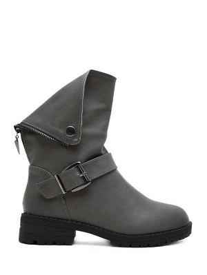 Belt Buckle Zipper Short Boots