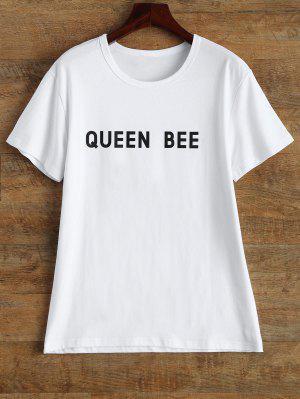 Jewel Neck Queen Bee T-Shirt - White M