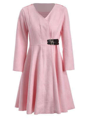 Patched Fit And Flare Dress - Pink M