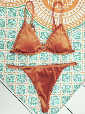 Traje de Bikini Reversible de Tirantes Finos de Terciopelo