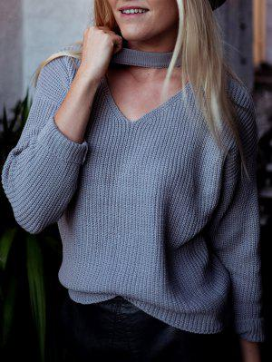 V Neck Ribbed Choker Sweater