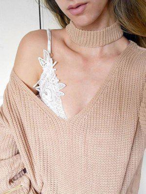 V Neck Ribbed Choker Sweater