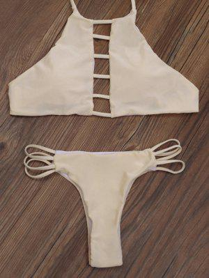 Ladder Cut Out High Neck Bikini - Apricot L