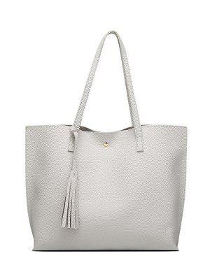 Textured PU Leather Tassel Shoulder Bag - Gray