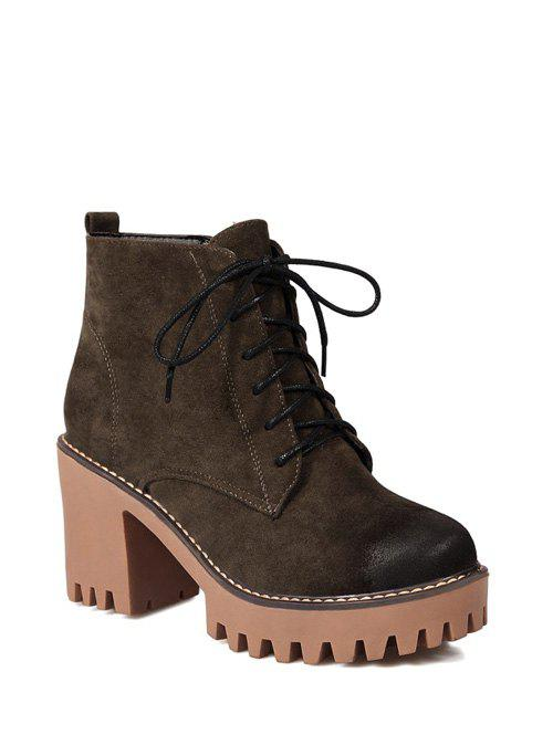 Tie Chunky Heel Zip Ankle Boots - ARMY GREEN 37