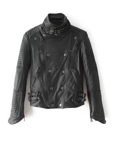 Stand Neck Zippered Biker Jacket