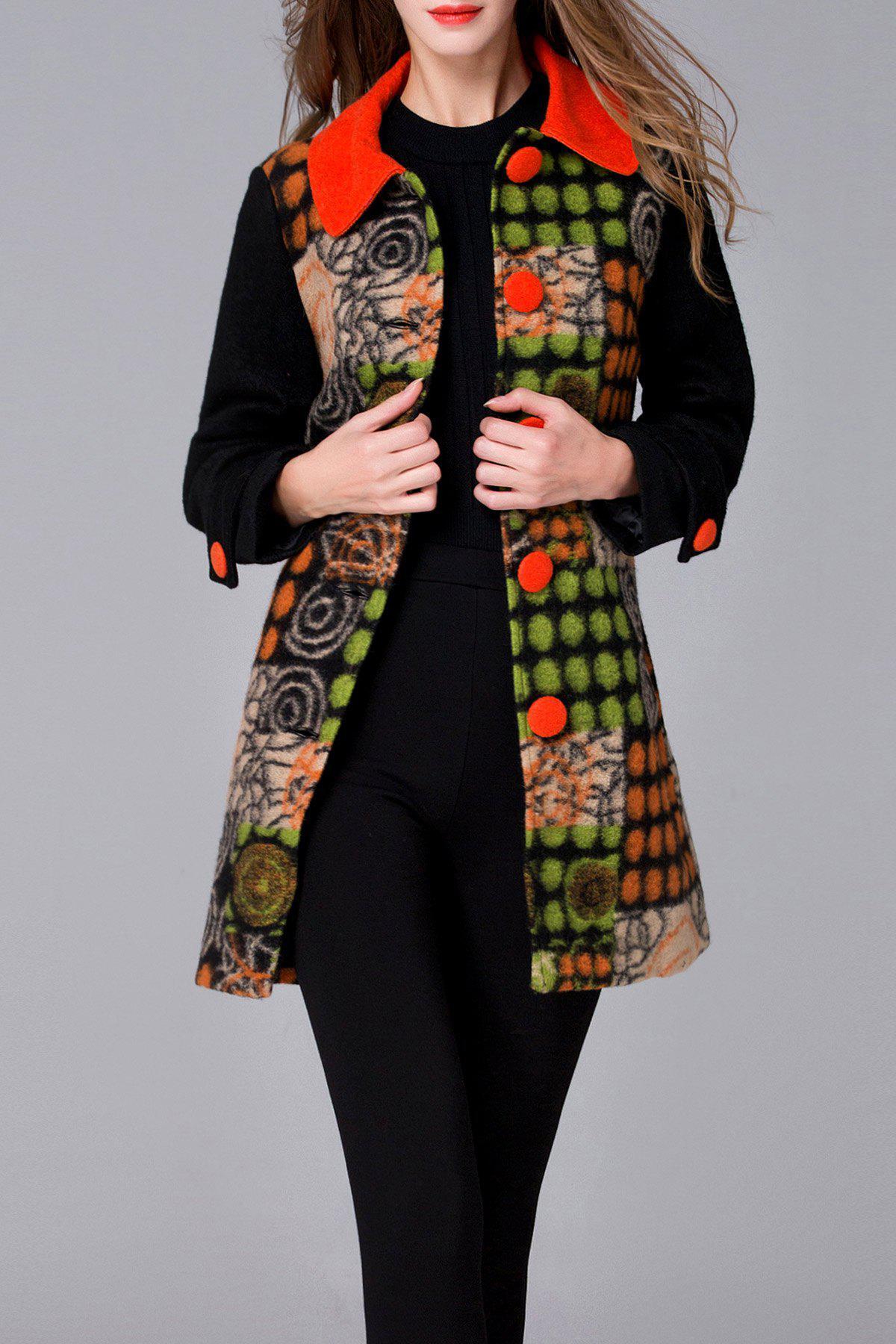 Printed Ethnic Style Woolen Coat, Orangepink