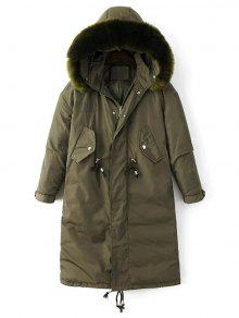 Drawstring Zip-Up Puffer Coat
