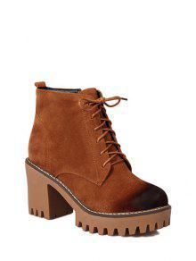 Buy Tie Chunky Heel Zip Ankle Boots 37 BROWN