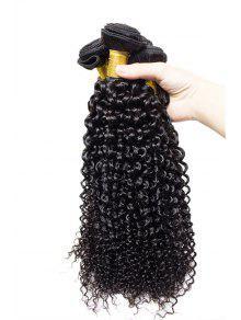 1 قطع غريب مجعد 7a العذراء البرازيلي نسج الشعر - أسود 14inch