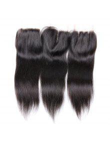 1 قطع 4x4 بوصة مستقيم 7a البرازيلي العذراء الشعر أعلى إغلاق - أسود 18 بوصة