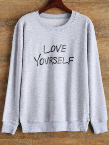 Crewneck Love Yourself Graphic Sweatshirt - Gray M