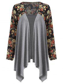 Floral Print Duster Coat - Gray M