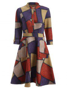 Geometric Pattern Fit And Flare Dress - Red M