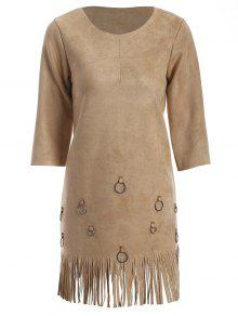 Tassels A-Line Dress - Camel S