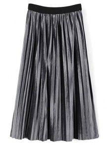 High Waist Midi Pleated Skirt - Frost
