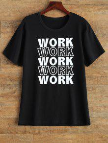 Jewel Neck Work Graphic T-Shirt - Black S