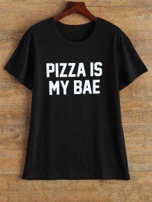 Jewel Neck Pizza Is My Bae T-Shirt - Black L