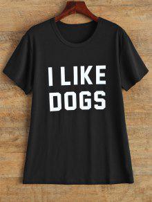 Cuello De La Joya Me Gustan Los Perros De La Camiseta - Negro M