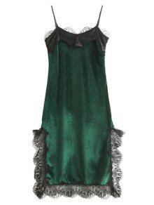 Lace Panel Scalloped A-Line Dress - Green S