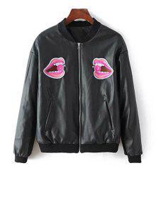 PU Lips En Cuir Patch Jacket - Noir S