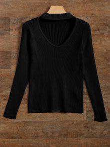 Ribbed Cut Out Choker Jumper - Black S